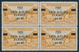 Lot 1847, Newfoundland 1933 Balbo Flight surcharge, XF mint block of four