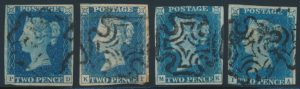 Lot 1941, Great Britain 1840 two penny blue on white paper, four with Maltese Crosses