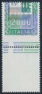 Lot 1957, Italy 1979 2000l Italia with shifted perfs and printing, VF NH single