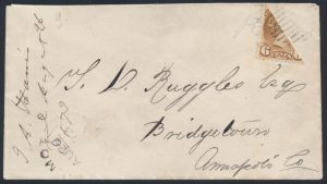 Lot 196, Canada 1873 six cent yellow brown Small Queen diagonal half on cover, Wilmot N.S. to Bridgetown N.S.