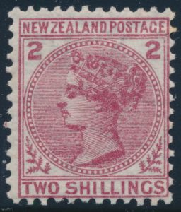 Lot 1966, New Zealand 1878 two shilling deep rose, mint hinged