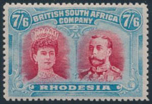 Lot 1972 Rhodesia #116 1910 7sh6d bright blue and carmine Queen Mary and King George V