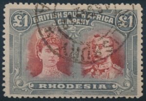 Lot 1974 Rhodesia #118 1910 £1 bluish slate and carmine Queen Mary and King George V