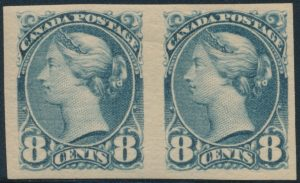 Lot 249, Canada eight cent blue grey Small Queen horizontal imperf pair, VF Mint