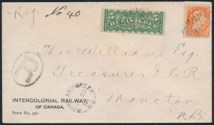 Lot 283 1894 Registered Intercolonial Railway Perfin Cover, mailed from Boundary Creek, N.S. on OCT.30.1894 to Moncton, N.B. (same day receiver), on Intercolonial Railway of Canada stationery