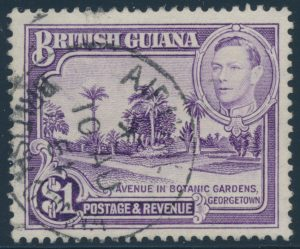 Lot 370, British Guiana 1951 one dollar bright violet KGVII, VF c.d.s.