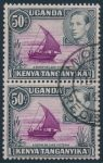 Lot 412, K.U.T. 1938 fifty cent purple and black King George VI, used pair with variety on bottom stamp