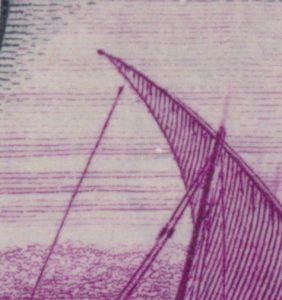 Lot 412, K.U.T. 1938 fifty cent purple and black King George VI,