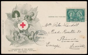 Lot 643, Canada 1900 Red Cross Boer War patriotic private postcard, Berlin Ontario to Bienne Switzerland