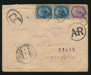 "Lot 652, Canada 1899 twelve cent ""AR"" registered cover Montreal to New Orleans"