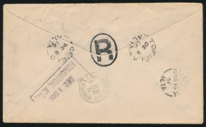 Lot 655, Canada 1906 King Edward VII insured cover, Tofield to Strathcona Alberta (back)