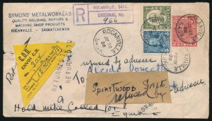 Lot 778, Canada 1936 Registered C.O.D. cover, well-travelled