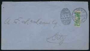 Lot 99, Canada 1885 two cent Small Queen bisect on Halifax cover