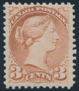 Lot 1236, Canada 1876 three cent dull red Small Queen, VF NH, sold for C$2,300