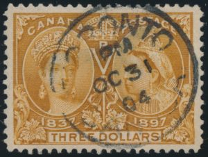 Lot 1288, Canada 1897 three dollar yellow bistre Jubilee, VF used, sold for C$1,322