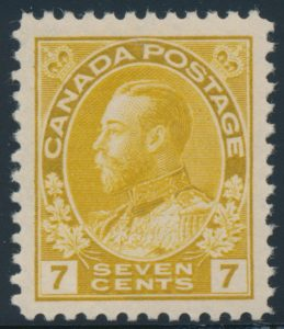 Lot 1467, Canada 1916 seven cent yellow ochre Admiral, XF NH with variety, sold for C$546