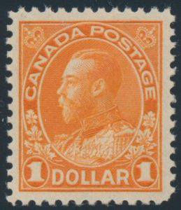 Lot 1521, Canada 1925 one dollar brown orange Admiral VF NH, sold for C$632