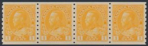 Lot 1531, Canada 1923 one cent orange yellow Admiral strip of four, XF NH, sold for C$184