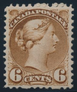 Lot 172, Canada 1872-73 six cent yellow brown Small Queen, VF NH, sold for C$2,415