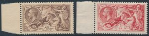 Lot 1949, Great Britain 1919 retouched Seahorses, 2p6sh & 5sh VF NH, sold for C$862