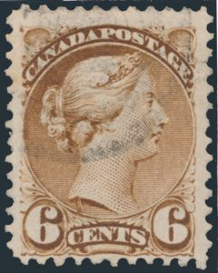 Lot 215, Canada six cent yellow brown Small Queen, used with Neck Flaw, sold for C$2,300