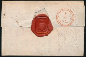 Lot 618, back of Québec 1813 Ship Folded Letter Chambly to England, sold for C$920