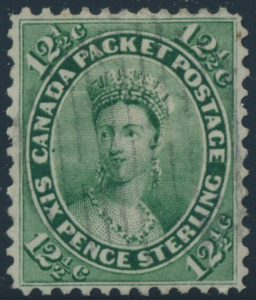 Lot 1168, Canada 1859 twelve and a half cent yellow green Victoria, XF used with grid cancel, sold for C$316