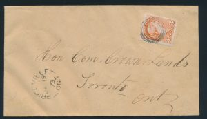 Lot 132, Canada 1873 three cent red Small Queen cover, Priceville Ontario to Toronto, sold for C$460