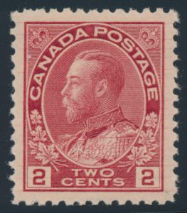 Lot 1397, Canada 1912 two cent deep rose red Admiral, XF NH, sold for C$402