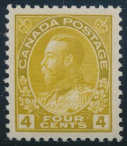 Lot 1438, Canada 1922 four cent olive yellow Admiral, XF NH, sold for C$431