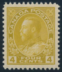 Lot 1442, Canada 1925 four cent yellow ochre Admiral, XF NH, sold for C$241