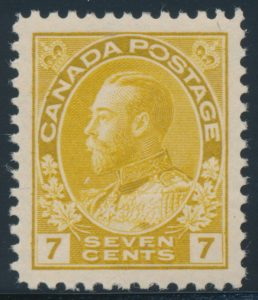 Lot 1460, Canada 1916 seven cent yellow ochre Admiral, XF NH, sold for C$276