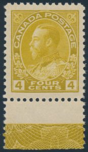 Lot 1461, Canada 1916 four cent yellow ochre Admiral XF NH single with lathework, sold for C$661