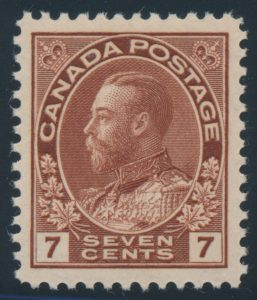 Lot 1469, Canada 1924 seven cent red brown Admiral dry printing, XF NH, sold for C$218