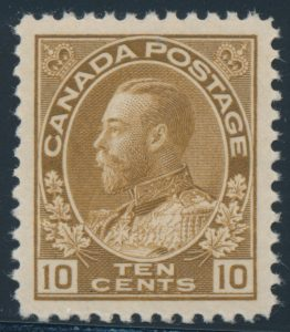 Lot 1496, Canada 1925 ten cent bistre brown Admiral, XF NH, sold for C$460