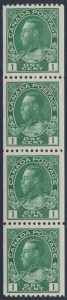 Lot 1540, Canada 1915 one cent blue green Admiral coil strip of four, VF NH, sold for C$460