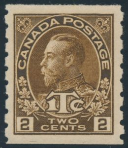 Lot 1625, Canada 1916 2c + 1c brown Admiral War Tax coil single, XF NH, sold for C$264