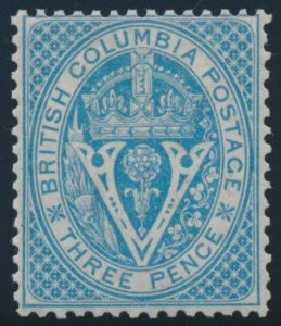 Lot 1802, British Columbia three pence pale blue Seal, Fine lightly hinged, sold for C$517