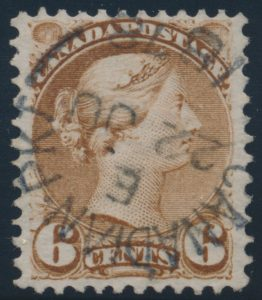 Lot 188, Canada 1878 six cent yellow brown Small Queen, VF used, sold for C$253