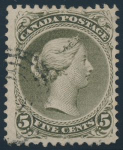 Lot 19, Canada 1875 five cent olive green Large Queen, fine used, sold for C$776