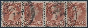 Lot 239, Canada 1895 six cent red brown Small Queen, VF used strip of four including major re-entry, sold for C$253