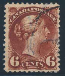 Lot 243, Canada six cent red brown Small Queen with major re-entry, fine used, sold for C$718