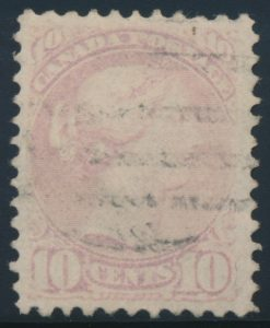 Lot 265, Canada 1874 ten cent pale milky rose lilac Small Queen, VF used, sold for C$1,150