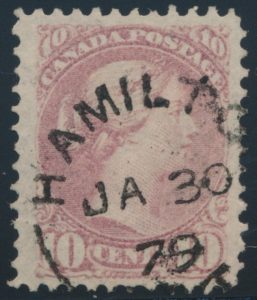 Lot 266, Canada 1879 ten cent light rose lilac Small Queen, VF used, sold for C$230