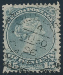 Lot 30, Canada 1890s fifteen cent slate blue Large Queen, VF used, sold for C$218