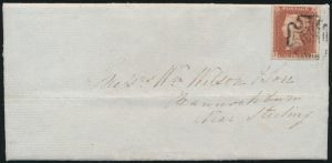 Lot 497, Great Britain 1841 one penny red brown Victoria on cover Dundee to Stirling, sold for C$431