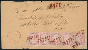 Lot 630, Canada 1860 five cent domestic rate cover, Harrowsmith UC to Whitby, sold for C$517