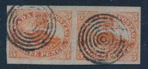 Lot 1, Canada 1851 three penny beaver XF used horizontal pair