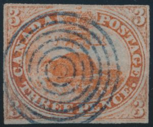 Lot 1104, Canada 1851 used red three penny Beaver, sold for C$373