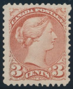 Lot 120, Canada 1871 three cent rose Small Queen, VF hinged, sold for C$632